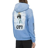 OFF WHITE Trending Women Men Stylish Print Long Sleeve Hoodie Velvet Sweater Pullover Top Sweatshirt White