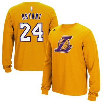 Kobe Bryant Los Angeles Lakers adidas Name & Number Long Sleeve T-Shirt – Yellow