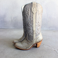Stacked Heel Cowboy Boots Tall Early 80's Women's Vintage Size 6 1/2