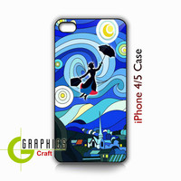 Tardis Doctor Who Van Gogh Starry Night Mary Poppins Art Painting Apple iPhone Case - Cover iPhone 4/4s and  5 (Black / White Color Case)