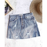 free people - distressed raw hem denim a-line skirt - indi/blue