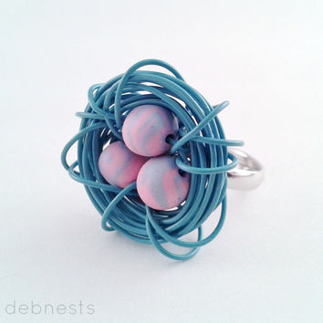 Blue Bird Nest Ring, Polymer Clay Beads in Wire Nest, Adjustable Band
