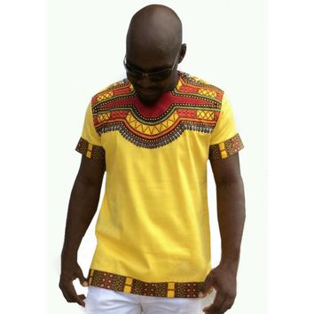 Summer Yellow Color Men T Shirt Short Sleeve Tribal Dashiki Crew Neck Succinct Hip Hop Tops Clothes Male Shirts African Style