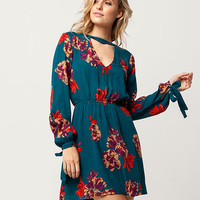 SKY AND SPARROW Floral Tie Sleeve Dress | Short Dresses