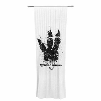 "BarmalisiRTB ""Tyrannosaurus Track"" Black White Animals Love Digital Illustration Decorative Sheer Curtain"