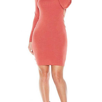 Watermelon-Red Long Sleeves Backless Midi Dress