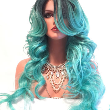 """MERMAID Green Turquoise Ombre' Curly Hair Lace Front Wig 20"""""""