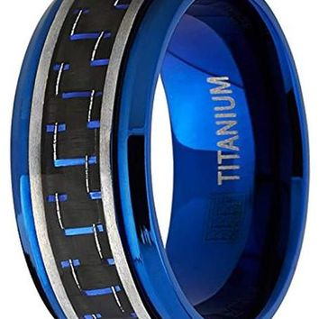 CERTIFIED 9mm Men's Brushed Blue Titanium  Black and Blue Carbon Fiber Inlay Ring