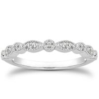 14K White Gold Vintage Look Fancy Pave Diamond Milgrain Wedding Ring Band