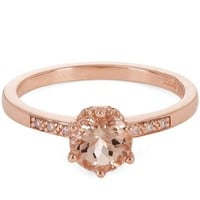 Rose Gold Morganite and White Diamond Hazeline Ring