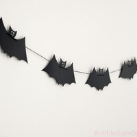 Colony of Bats Halloween Garland Bat Bunting Decoration - Large black paper Bat Halloween Decor