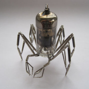 Vacuum Tube Mechanical Spider Sculpture No 2 Recycled Watch Parts Clockwork Arachnid Figurine Stems Lightbulb Arthropod A Mechanical Mind