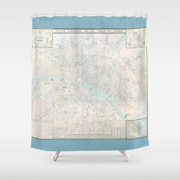Paris Map Shower Curtain - Atlas de Paris, France - Pastel, blue aqua,  French Travel Inspired  Home Decor,  cottage chic Bathroom
