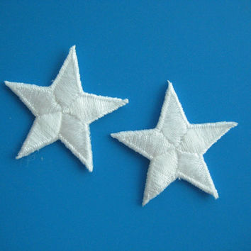 2 pcs iron-on Embroidered Applique White Star 1.9 inch