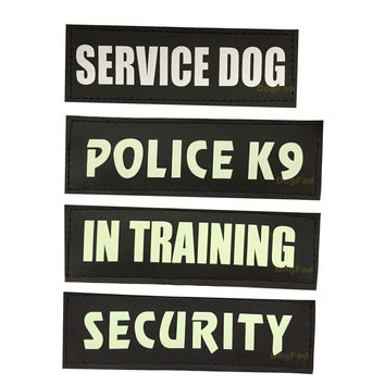 SECURITY Police K9 Self Luminous Dog Harness Label Sticker Night Pet Harness