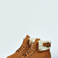 Poppy Shearing Trim Lace Up Ankle Boot