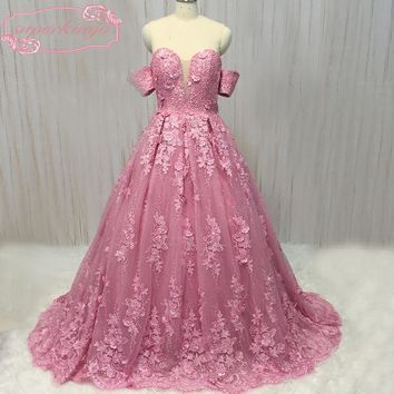 SuperKimJo real picture prom dresses hand made flowers beading pearls bow backless sweetheart neckline fuschia evening dress