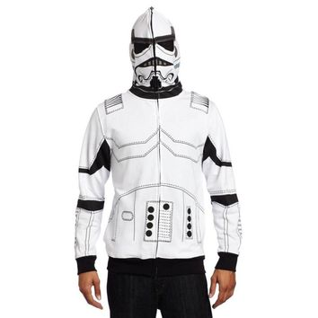 Star Wars Clone Trooper White Soldiers Storm Commando I am a Trooper Jacket Hoodies With Cap Hat Movie Halloween Cosplay Costume