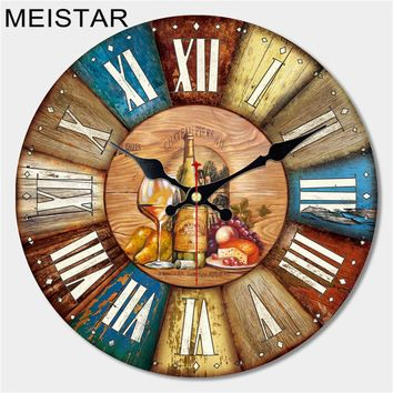 MEISTAR Vintage Large Wooden Wall Clock Creative Silent Home Cafe Kitchen Wall Clocks Watches Home Decor Retro Wall Clocks