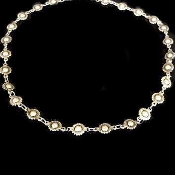 Edgy Antique Silver Metal Wheel Bead Concho Chain Necklace