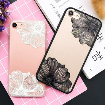 Fashion Cartoon Flower Case For iphone 7 Case For iphone7 6 6S Plus Phone Cases Classics Black White Floral Back Cover Cute Capa -Girllove100