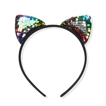 Sale 1PC Sequins Cat Ear Girl Hairband For Women Sexy Cat Ears Kid Hair Accessories Girls Party Headband