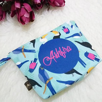 Tropical wedding - Beach Wedding - Bridesmaid Cosmetic Bag - Bird designed Clutch - Bridesmaid proposal - Bridesmaid Clutch - something blue