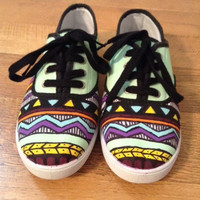 Hand painted tribal print canvas sneakers by StuffbySRS on Etsy