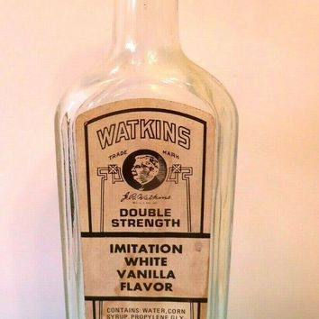 Vintage Watkins 11 oz. Bottle - Imitation Vanilla Extract - Made in USA 1980's