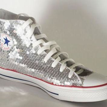 DCCK1IN silver sequin converse all star hi top