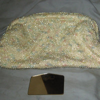 Midcentury Beaded Clutch. CORDE-BEAD. c. 1940's-50s. Embroidered. Pastels.  Handbag. Evening Bag. Purse
