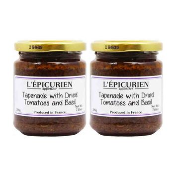 Free Shipping | 2 Pack Epicurien Large Jar Tapenade with Dried Tomatoes and Basil 7 oz
