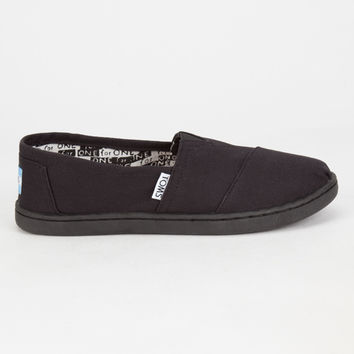 Toms Kids Canvas Classic Slip-Ons Black/Black  In Sizes