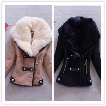 Fashion Winter Warm Jacket Slim Short Style Women Coat Lady Faux Fur Collar Casual Outwears = 1827686788
