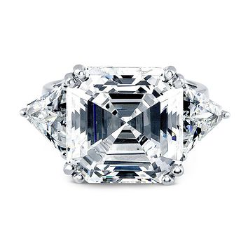 A Perfect 10CT Asscher Cut Russian Lab Diamond Engagement Ring