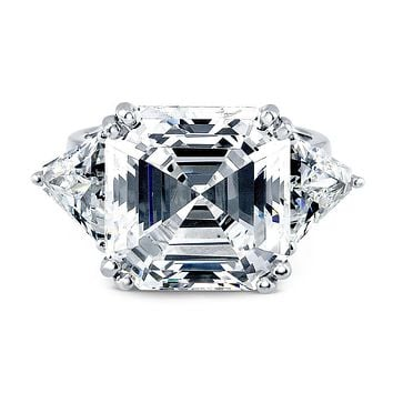 A Perfect 12CT Asscher Cut Russian Lab Diamond Engagement Ring