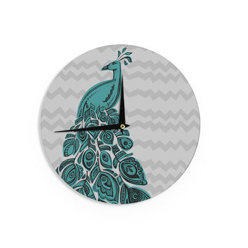 "Brienne Jepkema ""Peacock Blue"" Wall Clock"