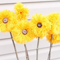 Beautiful Mustard Yellow Pom Pom Arrangement 6 by Stitchcrafts