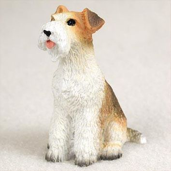 WIRE FOX TERRIER RED TINY ONE FIGURINE
