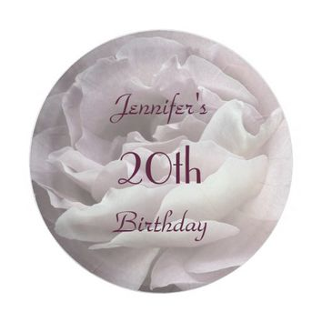 Pale Pink Rose Paper Plates, 20th Birthday Party Paper Plate