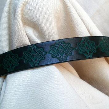 "Dog collar with Celtic design, leather, 1"" wide, green and black, hand tooled Celtic birds"