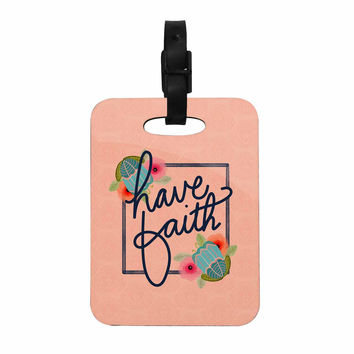 "Noonday Design ""Have Faith"" Coral Teal Typography Decorative Luggage Tag"