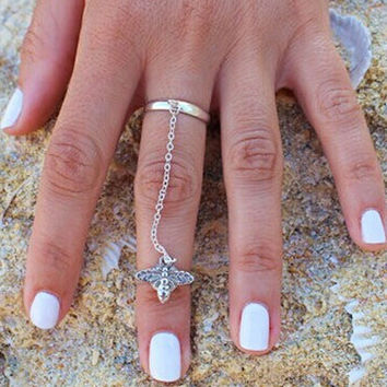 Silver Bee Link Double Ring