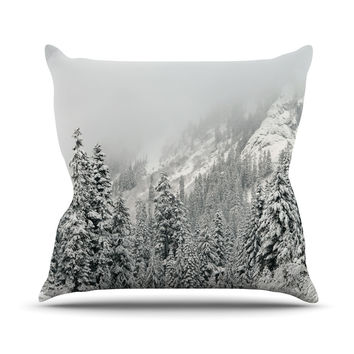 "Robin Dickinson ""Winter Wonderland"" White Gray Outdoor Throw Pillow"