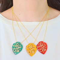 SPECIAL ALLAH NECKLACE, glass  necklace, coloful islamic necklace, islam gift, ramadan gift, religious model, islam jewelry, islamic fashion