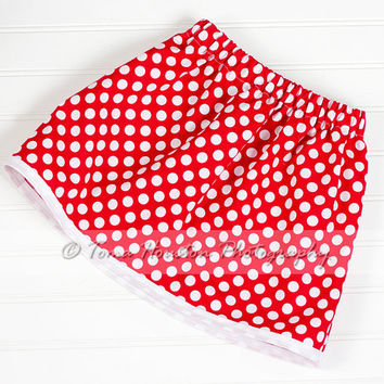 Girl's Twirl Skirt- Red, White Polka Dots