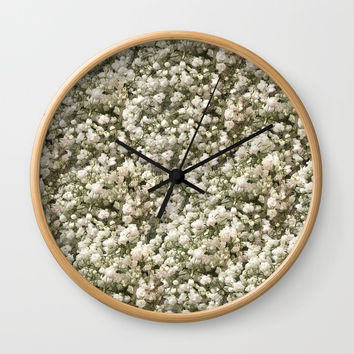 White Linen Baby's Breath Wall Clock by deluxephotos