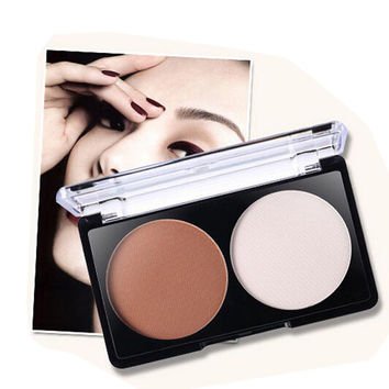 Brand Makeup 2 Color Bronzer Highlighter Powder Palette Trimming Powder Make Up Face Cosmetic Contour Pressed Powder by Nanda