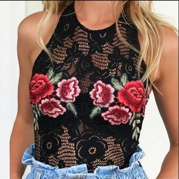 ESBON Hot summer new embroidery flower bud silk neck backless romper jumpsuits