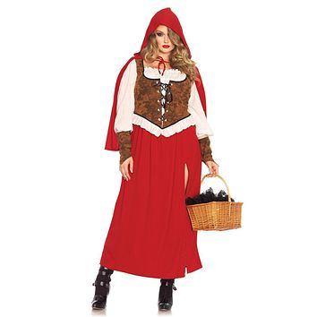 3PC.Woodland Red  Riding Hoodhigh slit dress,wrist cuffs,hooded cape in RED